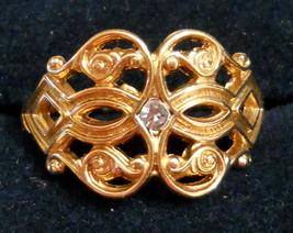 Glistening Touch Rhinestone Filigree RING size 5 Original Box NOS 1970s ... - $24.70