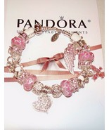 Authentic Pandora Sterling silver Bracelet with Heart,Butterflies Europe... - $103.95
