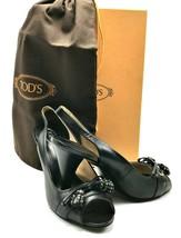 TOD'S Italian Leather Slingback Peep Toe Heels in Black with Tassels SZ ... - $195.00