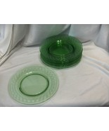 8 Vintage Spartan Green Fostoria Lead Crystal Glass Luncheon Plates 8.50... - $183.15
