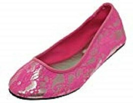 Betsey Johnson Flats Sz S Pink Silver Floral Laced Textile Sole Casual S... - £13.52 GBP