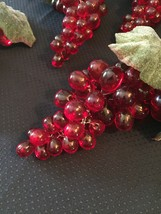 Vintage 60s Clusters of Lucite Red Grapes with leaves/stem/vine image 3
