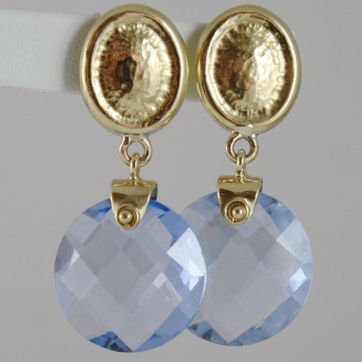 SOLID 18K YELLOW GOLD PENDANT EARRINGS OVALS WITH 13 CARATS CUSHION BLUE TOPAZ