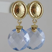 SOLID 18K YELLOW GOLD PENDANT EARRINGS OVALS WITH 13 CARATS CUSHION BLUE TOPAZ image 1