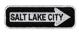 One Way Sign Salt Lake City Utah Embroidered Patch Iron-On Highway Road Biker - $3.95