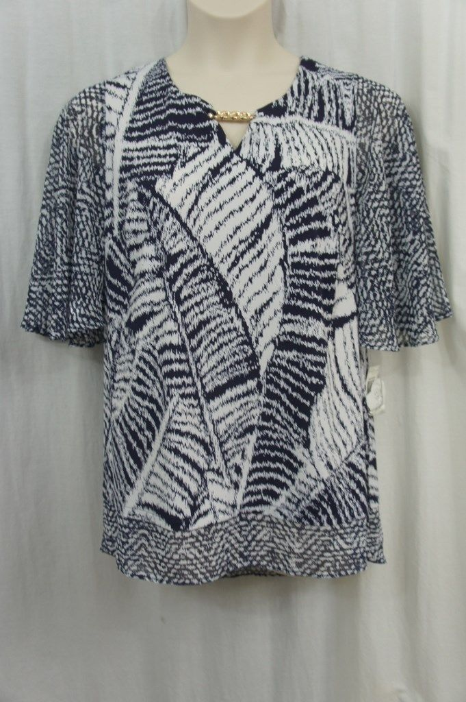 JM Collection Top Woman Sz 1X Navy White Jersey Chiffon Career Cocktail Blouse
