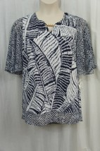 JM Collection Top Woman Sz 1X Navy White Jersey Chiffon Career Cocktail ... - $29.62