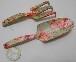 APRIL CORNELL Garden Hand Tool Lot SPADE & FORK Floral Print Jade Green - £25.41 GBP