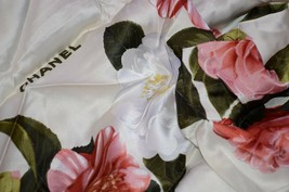 "Chanel Women's Scarf Wrap Floral Colorful Roses Large Shawl 55"" x 55"" Si... - $622.70"