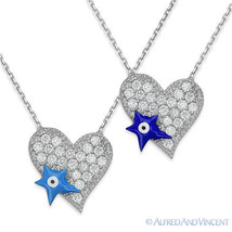 Evil Eye Heart Pendant Turkish Nazar Greek Jewish Hamsa Sterling Silver Necklace