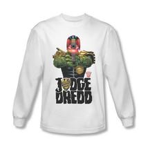 Judge Dredd Long Sleeve T-shirt cool superhero comic 100% white cotton tee JD102 image 1