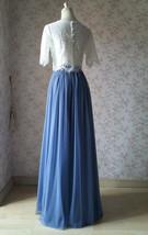 DUSTY BLUE Full Tulle Skirt Dusty Blue Wedding Tulle Skirt Outfit T1862 image 5