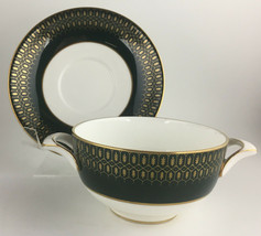 Coalport Chateau Green Footed Cream soup bowl & saucer - $40.00