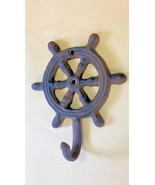 2pc Cast Iron Ships Wheel Helm Wall Hooks Hats Coats Keys Leashes towel ... - $15.99