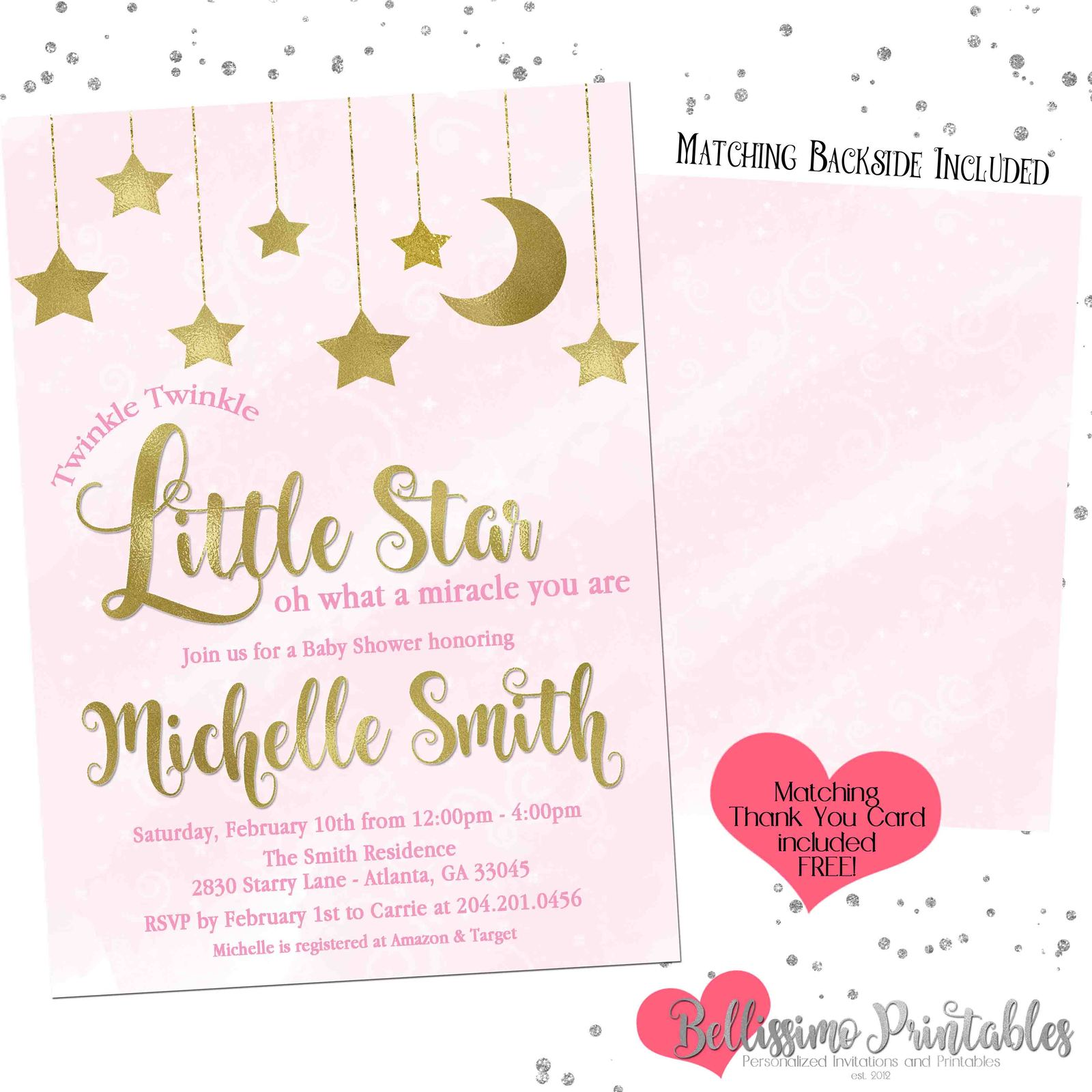 image regarding Free Printable Twinkle Twinkle Little Star Baby Shower Invitations named Twinkle Twinkle Minor Star Crimson Gold Child and 50 related merchandise