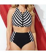 Black & White Striped High Waisted Two Piece Bikini ~ Plus Size Too - $39.95