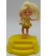 1970 Vintage Flatsy Spinderella Ballerina Blond Girl Doll Yellow In Case... - $18.00