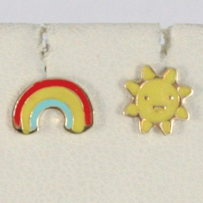 18K YELLOW GOLD KIDS EARRINGS GLAZED FLAT SUN AND RAINBOW, MADE IN ITALY