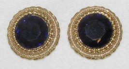 Clip On Earrings Sapphire Blue Faceted Glass Stone w/ Brass Braiding Rou... - $12.22