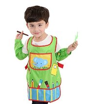 Waterproof Baby Bib Overclothes Painting Smock Apron & Sleeves B, 3-10 Years