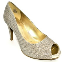 Bandolino Womens Rainaa Peep-Toe Pumps Size 9M Gold Glitter Cushioned Insole NEW - $34.64