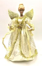 Christmas Angel 10 Inch Tree Topper white gold Lights Porcelain Head and... - $24.74