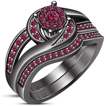 1.70Ct Pink Sapphire Black Gold Fn 925 Sterling Silver Womens Bridal Rin... - $75.00