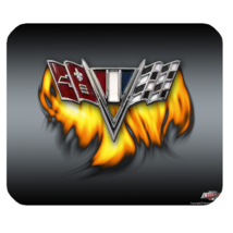 Mouse Pad Chevrolet Flag Corvette Logo Sports Car With Fire Luxury Anima... - €7,92 EUR