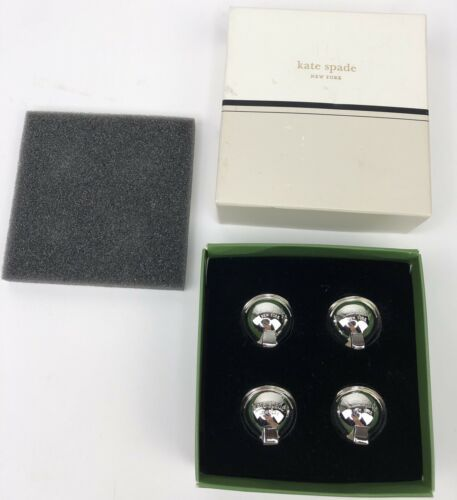 Kate Spade Lenox Donner Road Set of 4 Holiday Place Card Holders Silverplate