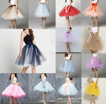 White Pink Tutu Tulle Skirt Puffy 4 Layered Party Full Circle Tulle Skirt Knee  image 8