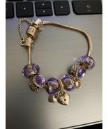Crystal Heart Charm Bracelet 18K Rose Gold Plated Made with Swarovski El... - $29.00