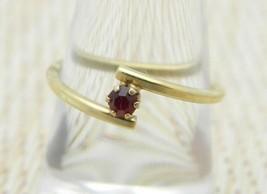AVON Gold Tone Red Rhinestone Dainty Ring Adjustable Size 7.25 Vintage - $13.86