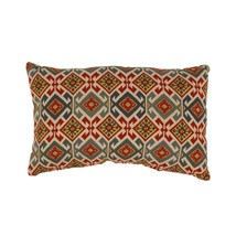 "Mardin Blue Red and Cream White Geometric Ikat Cotton Throw Pillow 11.5""... - $49.49"