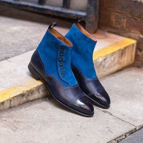 Handmade Men's Blue Suede and Leather Two Tone Buttons Boots