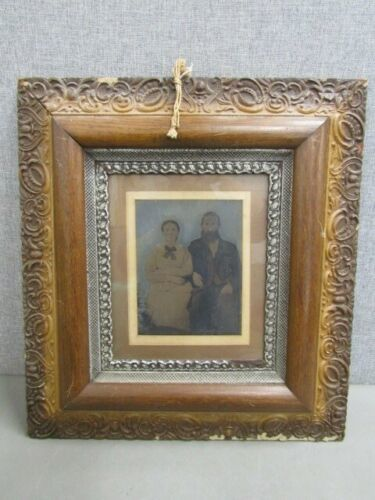 Antique 1900 Framed Photograph of a Man & Woman Color United States
