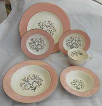HOMER LAUGHLIN CAVALIER SPRINGTIME pink LOT 42 PC DINNER PLATE BREAD BOW... - $168.29
