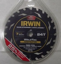 """Irwin 14035 7-1/4"""" x 24 Tooth Welded Carbide Circular Saw Blade Italy - $12.87"""