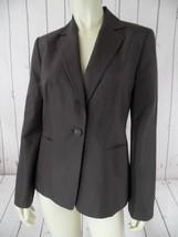 Ann Taylor Loft Blazer 4 Silk Brown Gray Button Front Lined Pockets Classy Chic! - $46.73