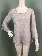 NWT Womens Bobeau 3/4 Bell Sleeve Silver Sparkle Lace Blouse Top Sz Medium - $22.76