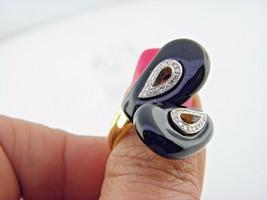 Onyx Noir & Diamant Bague Solide 18k or Jaune Sz 8.25 - $782.07