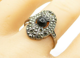 925 Sterling Silver - Vintage Black Onyx & Marcasite Cocktail Ring Sz 10... - $24.37