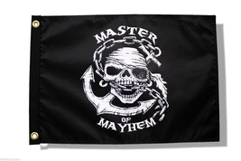 "PIRATE FLAG 12X18"" MASTER OF MAYHEM DUEL-SIDED MADE IN THE USA SINISTER ... - $18.76"