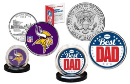 Best Dad - MINNESOTA VIKINGS 2-Coin Set Quarter & JFK Half Dollar NFL LI... - $14.80