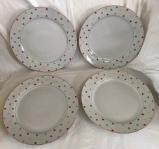 4 Home (Target) Chelsea Park Dinner Plate (s) Polka Multi Color Dots Por... - $59.39