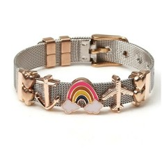 Stainless Steel Belt Mesh Bracelet Rose Charm Rainbow Airplane Heart - $20.20