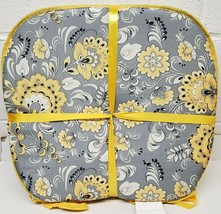 """Set of 4 CHAIR PADS CUSHIONS w/yellow ties,15"""" x 15"""", YELLOW FLOWERS ON ... - $23.75"""