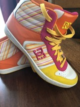 DC Shoes Vintage Size 10 Orange Hot Pink Yellow High Top Skateboard Shoes - $37.01