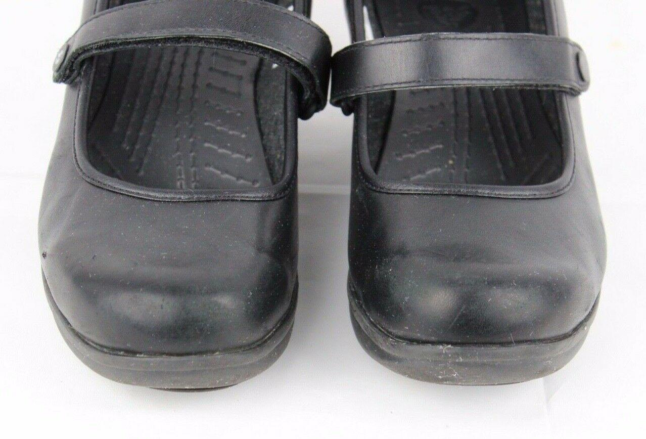 Crocs Damen Mary Jane Keil Sandalen Schwarz Vegan Leder Komfort Größe 10