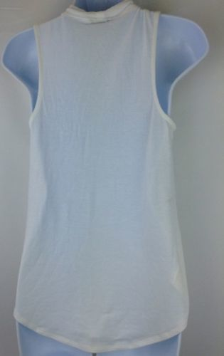 Express Womens Keyhole White Top high neck Blouse Size Small image 4