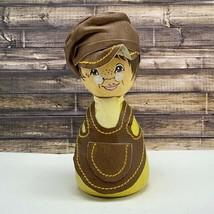 Barbro Bjornberg Sweden wood carved figure sculpture leather apron hat w... - $69.25